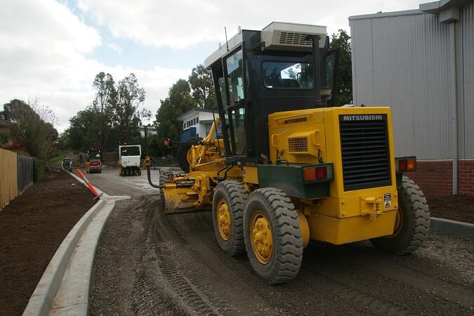 Asphalt Paver at Kingswood College car park construction