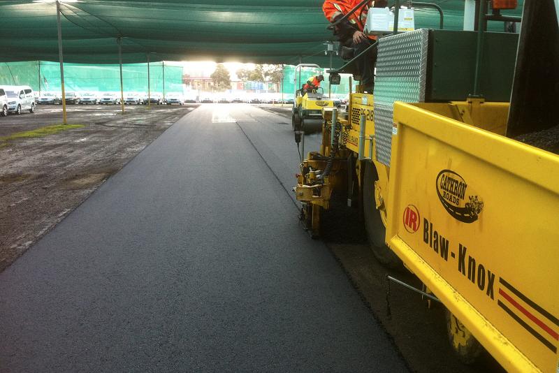 asphalt paving laneways at laverton car storage