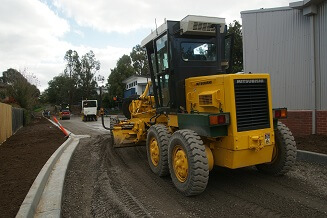 Road Grader, Kingswood College road surfacing project